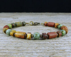 Jasper and African Turquoise Mens Bracelet with African Brass Spacers $34.28