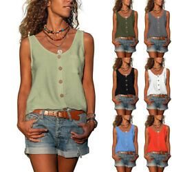 Womens Casual Loose Sleeveless Summer Tank Top V Neck Solid Tunic Button T Shirt $13.76