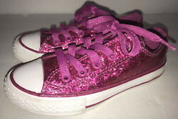 Converse All Star Girls Hot Pink Sparkle Size 11 Youth Ox Low Top Sneaker Shoe $21.99