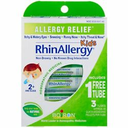 Kids RhinAllergy Allergy Relief 3 Tubes 80 Quick Dissolving Pellets Each $23.40
