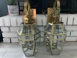 Vintage Antique Pair Brass Wall Sconce 3 Lights set of 2 $169.99