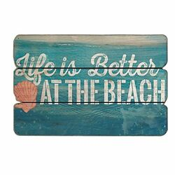 Mode Home 11.81quot;X15.75quot; Life is Better at The Beach Vintage Wooden Wall Beach Si $3.49