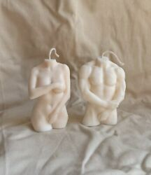 Soy Candle Female Male Torso Set of two candle White Hand Woman $21.89