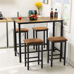 Kitchen Bar Table set of 5 Dining Room Table Set with 4 Bar Stools Rustic Brown $158.98