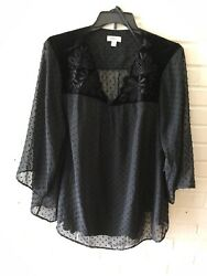 New Style amp; Co Swiss Dot Velour Yoke Blouse amp; Cami Black Plus Size 80% OFF U1