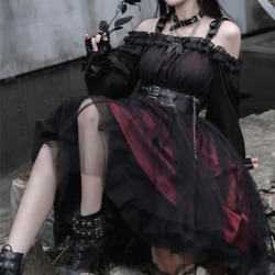 Women Lolita Gothic Dress Ruffle Puff Sleeve Steam Punk Cosplay Irregular Fairy
