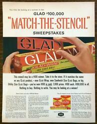 1964 Glad Wrap Glad Bags PRINT AD Match the Stencil Sweepstakes $10.70