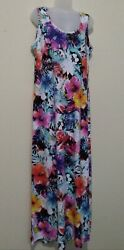 NEW ROUGE COLLECTION WOMEN SLEEVELESS MAXI DRESS PLUS SIZE 1X FLORAL HAWAII $24.97