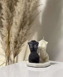 Set Of 2 Candles. Soy Wax. Female Torso Candle. Black Candle. White Candle. $18.00