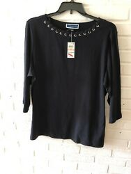 New Karen Scott Women#x27;s Boat Neck Embellished Knit Top Black Plus Sz 75% OFF U5