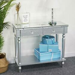 2 Drawer Mirrored Vanity Make Up Desk Living Console Table Silver Glass Modern $128.99