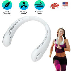 USB Rechargeable Bladeless Neck Fan Portable Air Cooler Mini Hanging for Sports $22.99