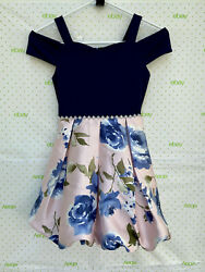 NWT $62 SPEECHLESS Girls 7 Cold Shoulders Floral Dress Navy Pink Party Holiday $21.99