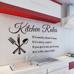 Kitchen Wall Stickers 3D Removable Vinyl Mural Home Rules Quote Decor DIY US $8.43