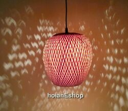 Round Bamboo Lamp 10#x27;#x27; for Ceiling hanging Living room Kitchen Lamp decor $29.99
