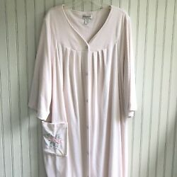 SHADOWLINE Long Cotton Terry Robe Embroidered Flower Pocket Snap Front Plus 3X $34.00