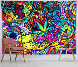 Psychedelic Abstract Tapestry Colorful graffiti Wall Hanging Living Room Bedroom $10.99