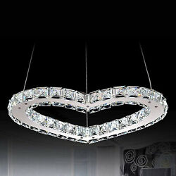 LED Chandelier Crystal Simple Heart Shaped LED Ceiling Light Silver Stainless $48.99