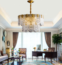 Modern 10 Light Crystal Glass Shell Chandeliers Gold Pendant Ceiling Lighting $226.79