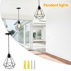 Metal Pendant Light Shade Ceiling Industrial Geometric Wire Cage Lampshade Lamp $27.83