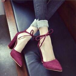 Sexy Womens Pointed Toe open toe High Block Heel Sandals party Shoes Plus Size $38.16