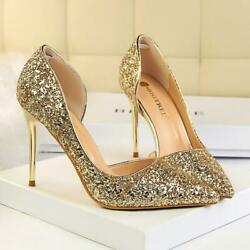 Sexy Womens Pumps Bling Stilettos Slip On High Heel Ladies Wedding Party Shoes $37.41