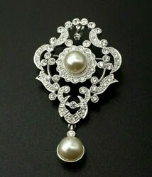 Vintage Flower Design Clear Rhinestone Brooch Pin Faux Pearl Ornate Silver Tone $22.49