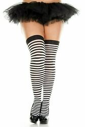 Black and White Stiped Thigh High Plus Size $9.00