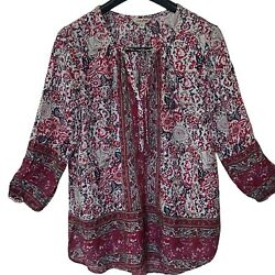 Lucky Brand Peasant Blouse Boho Shirt 3 4 Purple Red White Size XL Runs Big $19.99