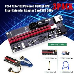 3PACK PCI E 1x to 16x Powered USB3.0 GPU Riser Extender Adapter Card VER 009S US $20.76