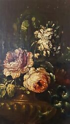 Antique Victorian Oil on Canvas Wood Floral Painting Cant see a signature $165.00
