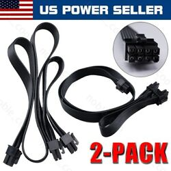 2 Pack VGA 8 Pin to DUAL 8 Pin 62 PCI E GPU Cable Power Extension Cord Cable $14.99