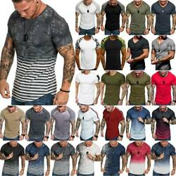 Mens Muscle Workout Slim Fit T Shirt Casual Gym Fitness Tee Shirts Summer Tops $14.15