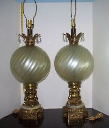 Vintage Pair Lamps Cherubs Hollywood Regency 36quot; Tall Crystals Blue Murano Glass $550.00