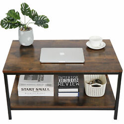 31quot; Rustic Wood Coffee Table Rectangular Coffee Table with Storage Shelf Durable $57.99