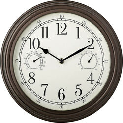 Westclox Indoor Outdoor 12quot; Thermometer amp; Humidity Wall Clock 33027 $18.99