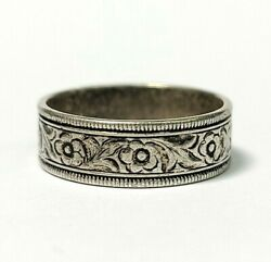 Vintage Sterling Silver Etched Flower Floral Eternity Band Ring Size 6 $49.00