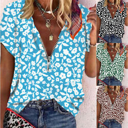 Women V neck Short sleeve Tops Ladies Loose Floral Blouse Casual Summer T shirt $14.48