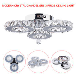 Indoor Modern Crystal Ceiling Chandeliers3 rings Round LED Fixtures Lamps 36W