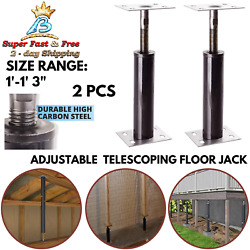 High Carbon Steel Temporary Support Telescoping Floor Jack Lift Stand Black 2Pcs $58.25