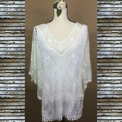 Royal Rose White Gauzy Hippie Boho Lace Butterfly Sleeves Top Women's Blouse XL $29.99
