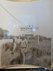 Vintage Fishing Photo Lew#x27;s Boats Tolet sea worms 8 x 10 holding big fish $19.99
