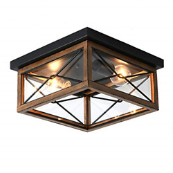 2 Lights Indoor Outdoor Flush Mount Ceiling Lamp Farmhouse Close to Ceiling with $82.59