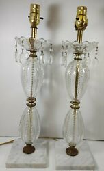 Crystal Vintage Lamps Lead Table Drop Prism Quartz Italy Hand Blown Pair Corded $654.95