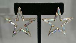 Star Large Gold Plated Silver Austrian Crystal 1.5quot; Dangle Cosmic Earrings Gift $16.19