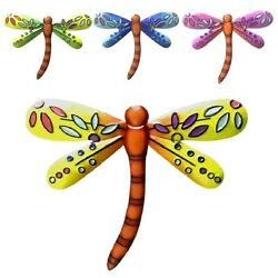Colourful Dragonfly Metal Walls Hanging Decoration Outdoor Garden Fence Ornament $10.50