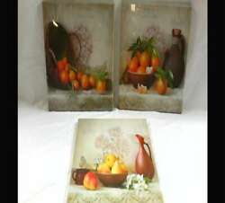 Kitchen Canvas Wall Art Vintage Fruits Flowers Artwor 12inch x 12inch x 3 Panels $33.11