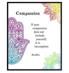 Compassion Buddha Quote Poster Inspirational Zen Wall Art Decor Poster $13.97