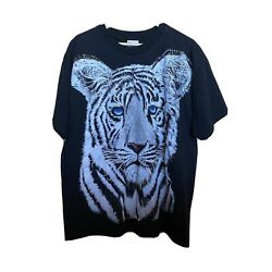 Vintage 90s White Tiger All Over Print Shirt Single Stitch Size XL $30.00