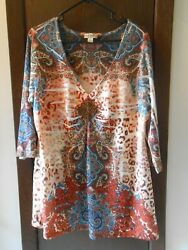 PLUS WOMEN#x27;S ONE WORLD 3 4 SLEEVE EMBELLISHED TOP SIZE 2X $25.98